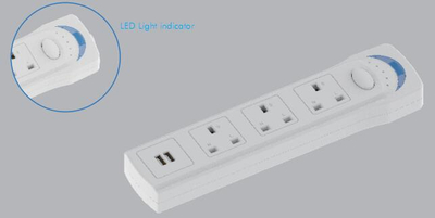 3 Way Switched Extension Lead Extended USB 3 Metre UK Power Socket with 3 Built-In USB Ports ROHS FCC CE bs 13a