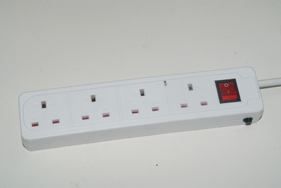3 way individual UK extension lead socket with surge protection
