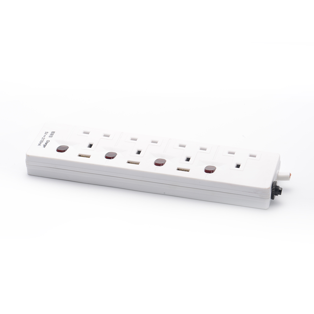 Power Strip 220V Extension Power Cord Plug 4 Outlet Power Strip 3m