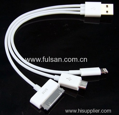 Wholesale 3 in 1 USB Charger Cable for iPhone & Samsung
