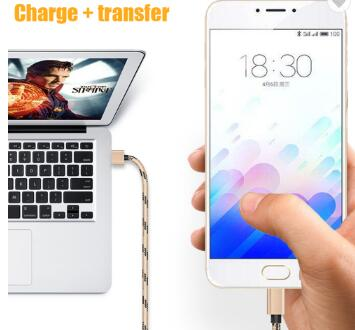 1M 3FT Nylon Braided Cord 2A Metal Charger Data Sync Charging Usb Type C Cable 3.0