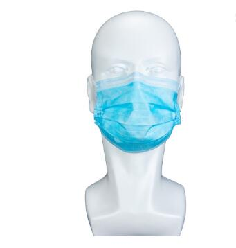 BFE 99 Blue Earloop Pleated 3 Ply Non Woven Disposable Face Mask with Meltblown Filter